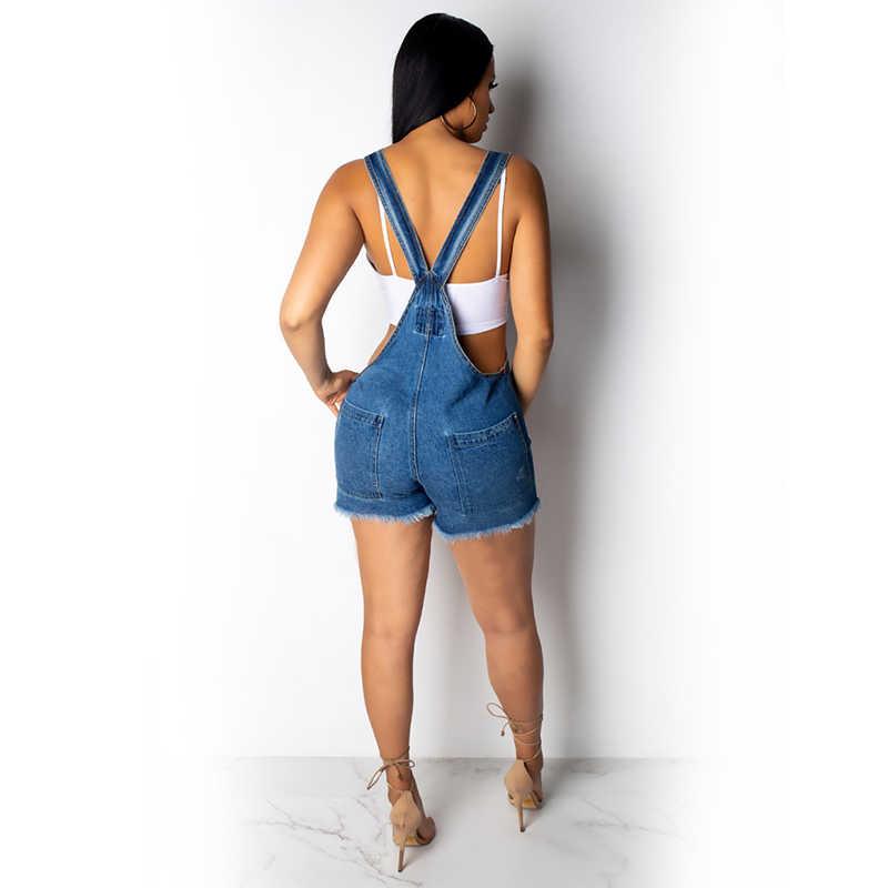 Сексуальный клубный комбинезон на бретельках, джинсовый женский джинсовый комбинезон без рукавов без спинки, женский комбинезон с v-образным вырезом, шорты, комбинезон, летний