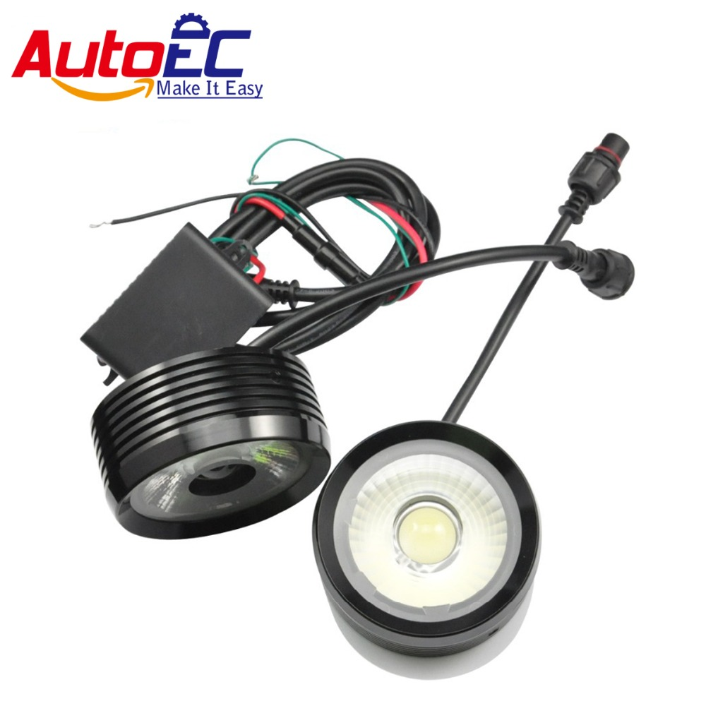 AutoEC 2*10w 20W Ultra Bright LED eagle eye DRL led daytime running lights Fog Light white waterproof for Universal SUV rav4 15w car led eagle eye headlight fog lights spotlights 6000k ip67 waterproof daytime running light for vehicle motorcycle