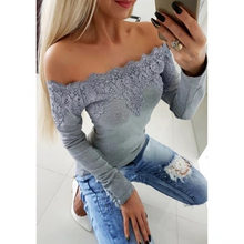 купить Sexy Women Lace Tops Casual Women Hollow Out Off Shoulder Long Sleeve Solid Shirt Ladies Fashion Slash Neck Embroidery Tops D30 дешево