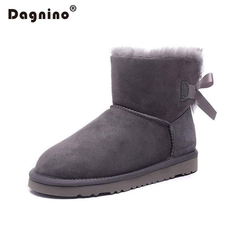 DAGNINO Winter Warm Sheepskin Wool Leather Snow Boots One Bowknot High Quality Shearling Women Natural Fur Ankle Shoes Short