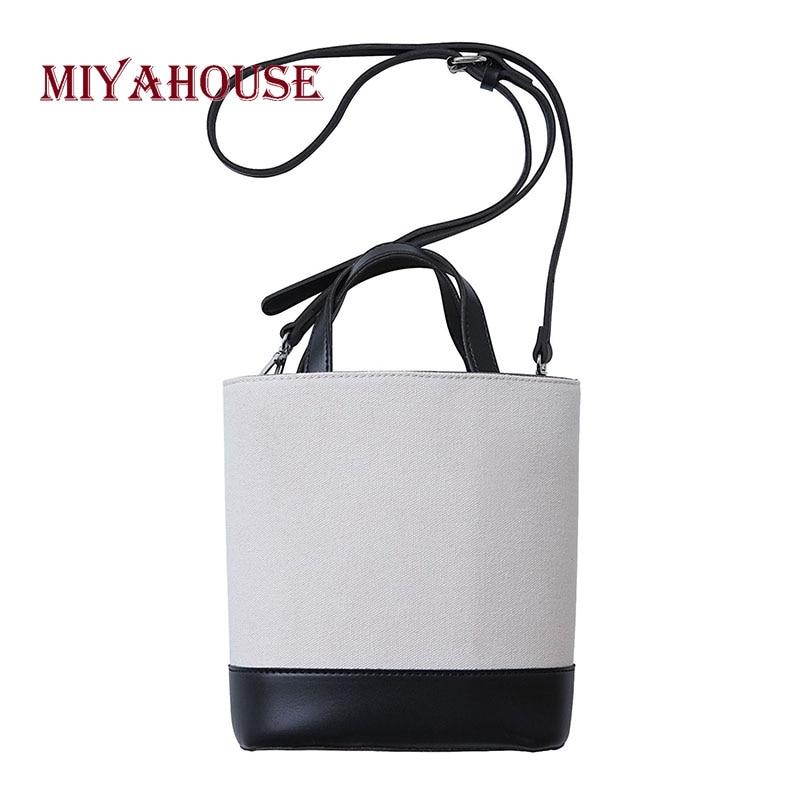 Canvas Bucket Bags Hit Color Shoulder Bag Korean Style Female Casual Portable Messenger Bag