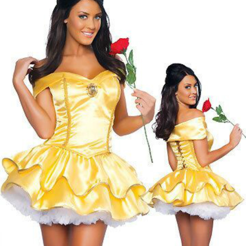 Free Shipping ! 2018 New Hot Selling ! Golden yellow maidservant outfit Princess cosplay costume M L XL Size