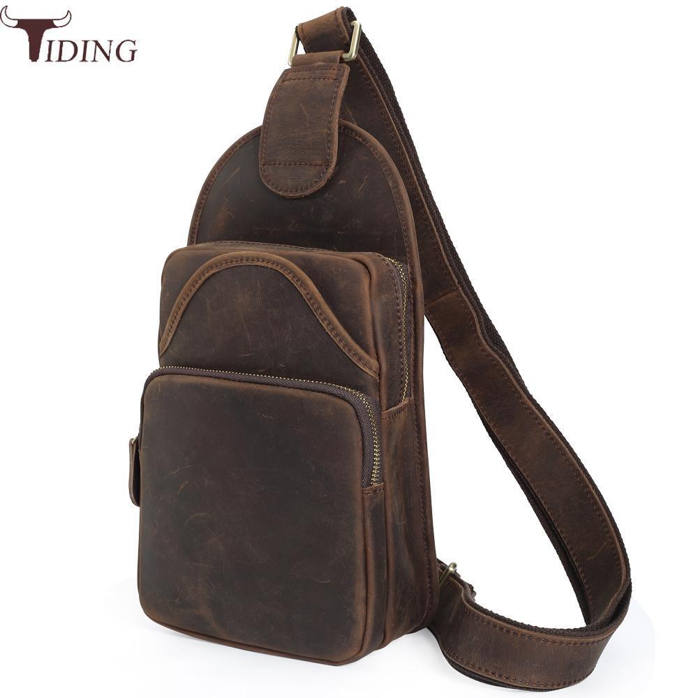 Tiding Mens Thick Genuine Leather Chest Pack Vintage Sling Bag Daypack Rucksack Small Shoulder Messenger Bag