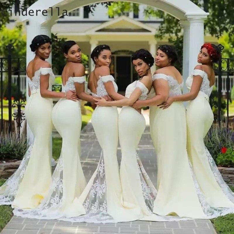 Cinderella Africa V-Neck Off The Shoulder Mermaid Lace Applique Satin   Bridesmaid     Dresses   Satin Lace Mermaid   Bridesmaid   Dressess