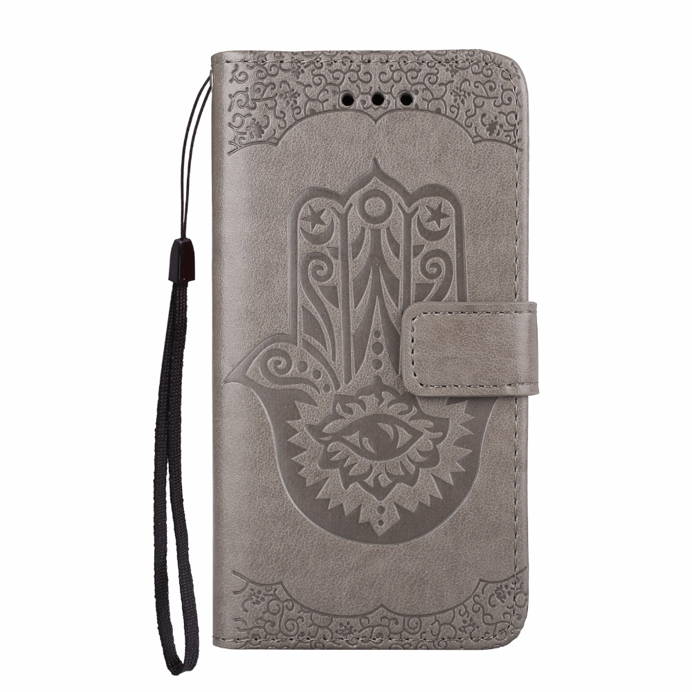 Palm Floral Leather Wallet Case For Huawei P9 Lite P9Lite Cover With Card Slot Stand Capa Huawei Ascend P8 Lite P8Lite Phone Bag
