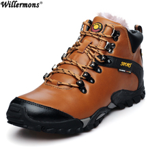 2017 Winter Men's Outdoor Genuine Leather Anti-slip High Top Hiking Sports Shoes Men Warm Climbing Sneakers Shoes Boots Camping