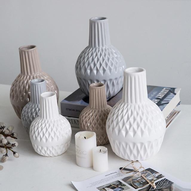 Modern Ceramic Vase Geometric Pattern Porcelain Vases Home Decor Flower Bottle Tabletop Flowerpot Wedding