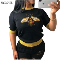 Bee Embroidery Knitted Short Sleeve Tshirt Casual Ropa Mujer Blusas Graphic Tees Women Korean Sheer Camisetas Cute Pullover 2018