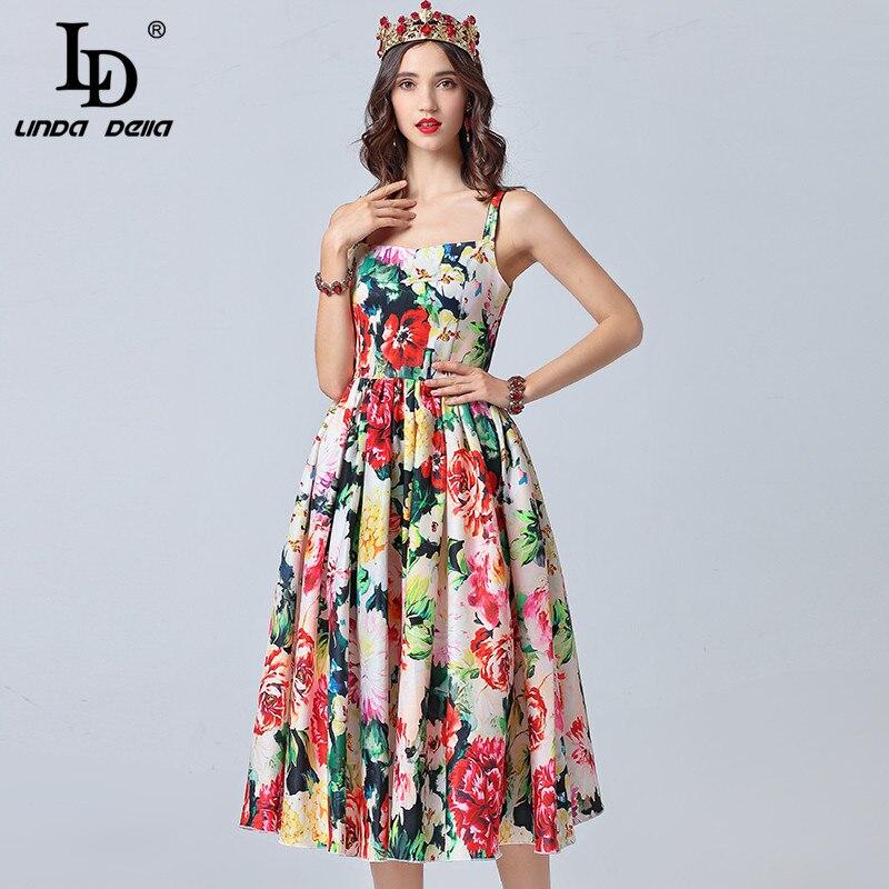 LD LINDA DELLA Fashion Runway Summer Dress Women s Spaghetti Strap Vintage Floral Print Holiday Elegant