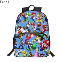 New Style Hot Oxford 16 Inches Printing Super Mario Kids School Bags for Teenager Backpack Cartoon Bookbag Children Schoolbag 19(China)