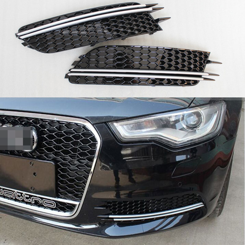 RS6 Style Front Bumper Fog Grille Light Lamp Cover for Audi A6 C7 Sedan 2012 2013 2014 2015 front bumper fog lamp cover abs fog light mask cover grill grid with led light grille for audi for a6 c7 2013