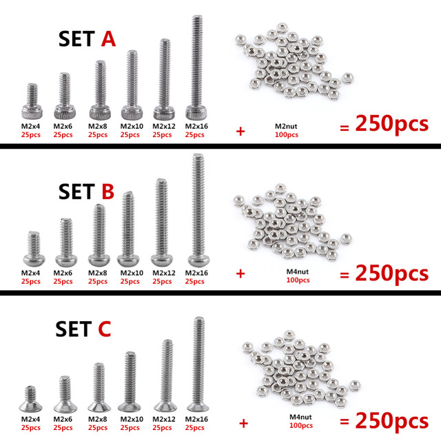 250pcs Good Quality 304 Stainless Steel M2 Hex Socket Screws Bolt With Hex Nuts Washer Assortment Kit 4-16mm