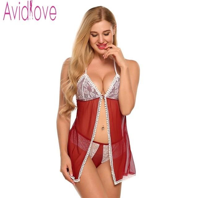 b12f613b41 Avidlove Sexy Sleepwear Women Strap V-neck Sexy Lingerie Dress Baby Doll  Front Split Nightwear