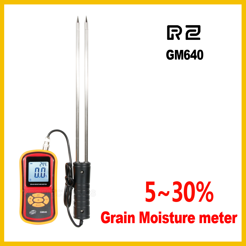 Portable Digital Grain Moisture Meter with Measuring Probe LCD Display Tester For Wheat,Corn,Rice,Bean GM640 4 8 days arrival lb92t portable sweetness tester brix meter with measuring range 58 92