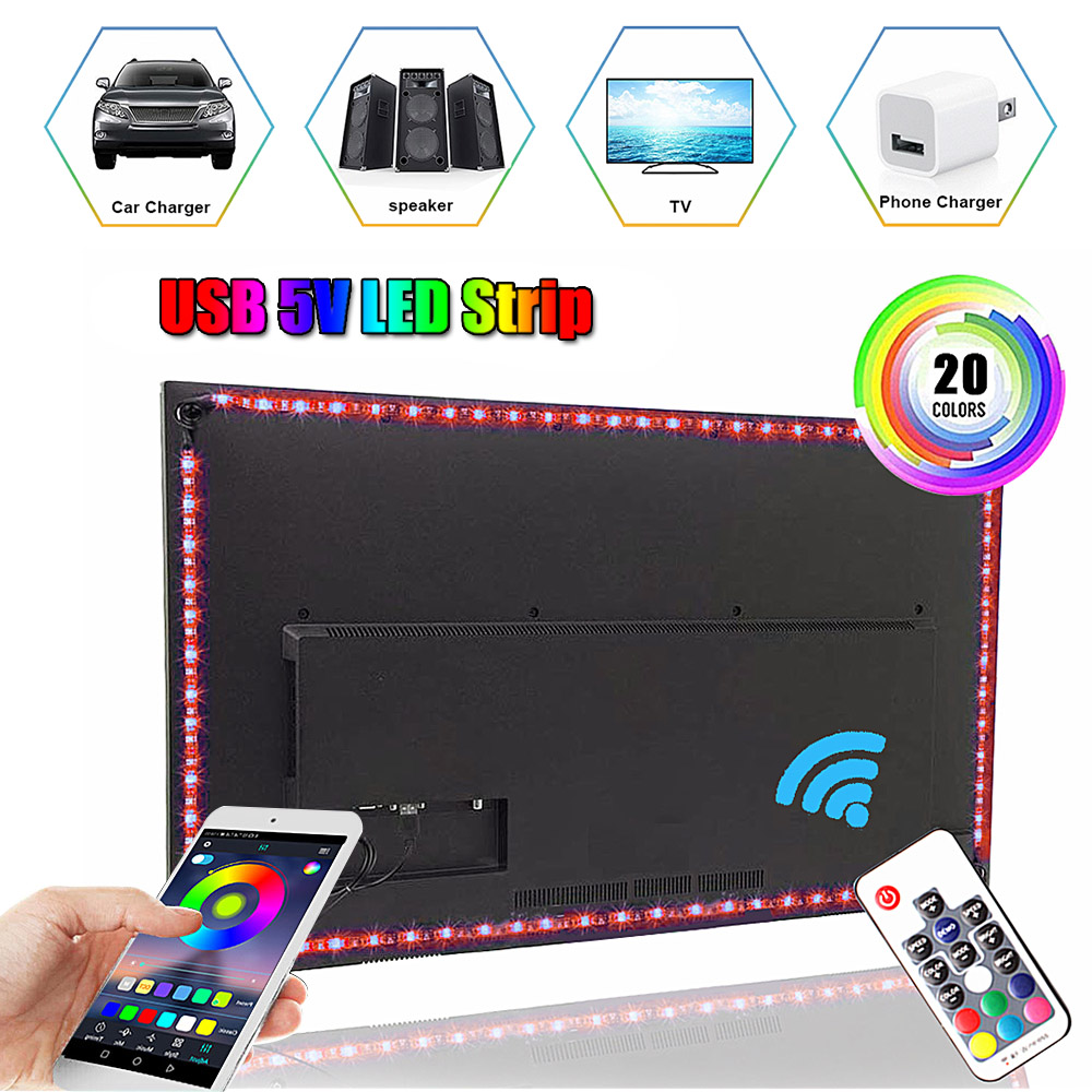 DC5V LED Strip USB Flexible 5050 RGB LED Lights Ambilight TV Background Lighting Music/Bluetooth/RF/IR Controller Ledstrip Lamp