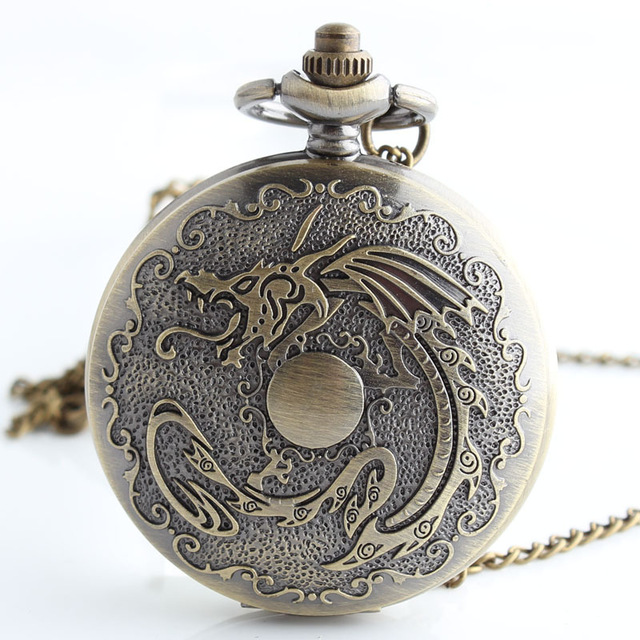 Chinese Dragon Theme Full Hunter Quartz Engraved Fob Retro Pendant Pocket Watch Chain Gift China Culture