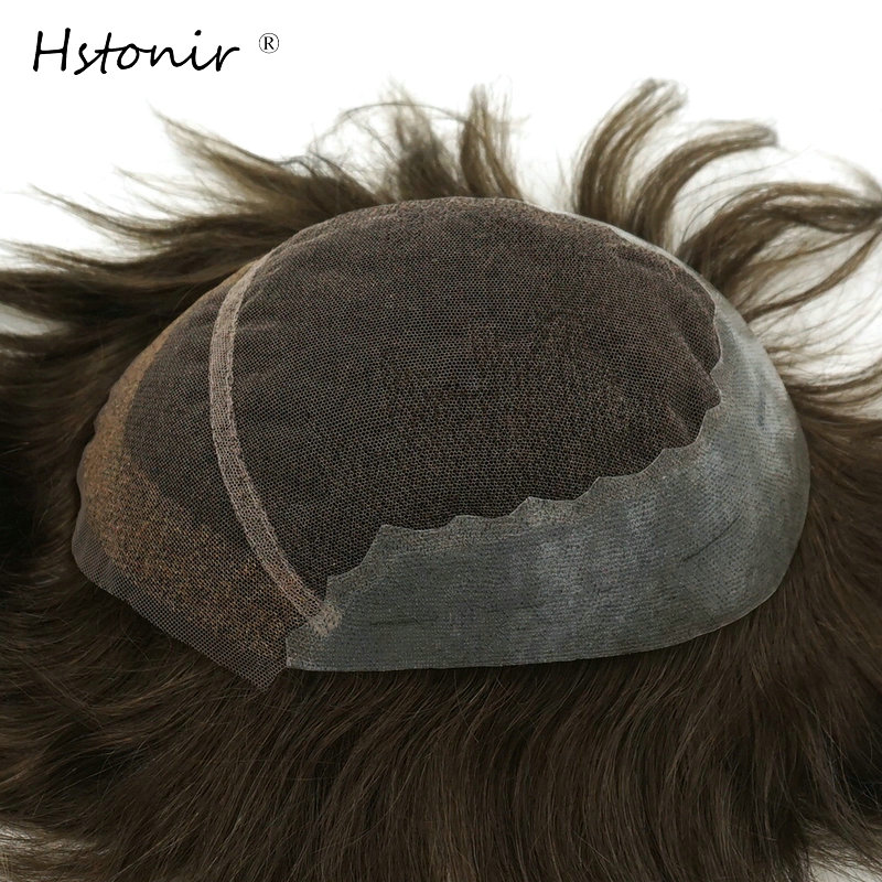 Hstonir Mens Toupee 100% Natural Remy Hair Super Fine French Lace Hair Replacement Systems H039