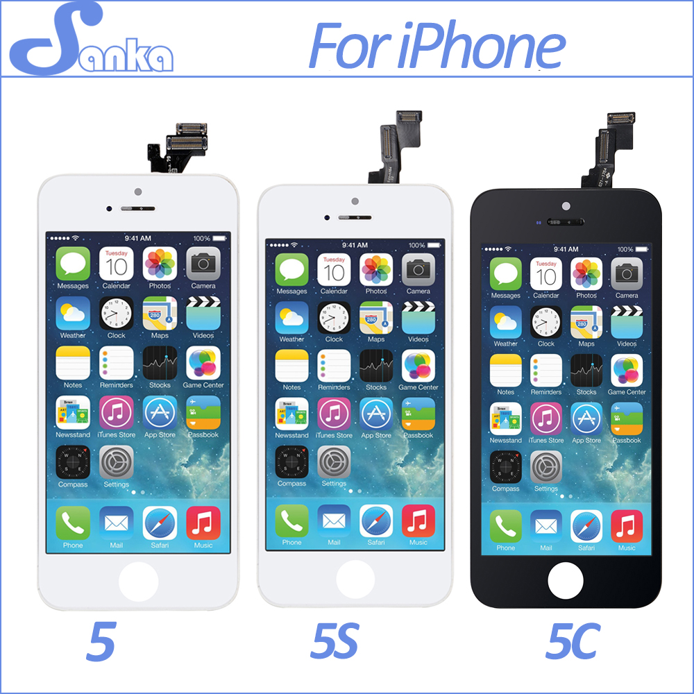 SANKA AAA 10PCS For iPhone 5S 5C 5 LCD Display Touch Screen Digitizer Replacement Touchscreen Pantalla Mobile Phone LCD Parts