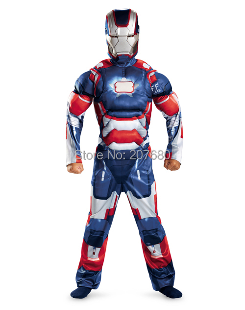 Children blue the avengers Iron man costume with muscle stretchy Party clothes Fancy dress for 4-12 years kids