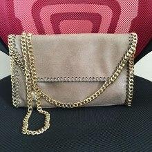 With Cover shaggy deer pvc kaki golden heavy chain crossbody shoulder bag lady luxury bag