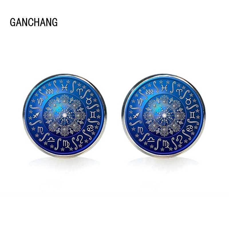 手作りの神秘的なブルー 12 星座コンパスメンズカフスシャツカフス高品質シルバーガラスカフス夫のギフト