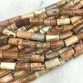 """Atacado Natural Genuine Brown Amarelo Tubo de Fortificação Botswana Ágata Onyx Solta Pérolas Barril Coluna Beads 15 """"04274"""