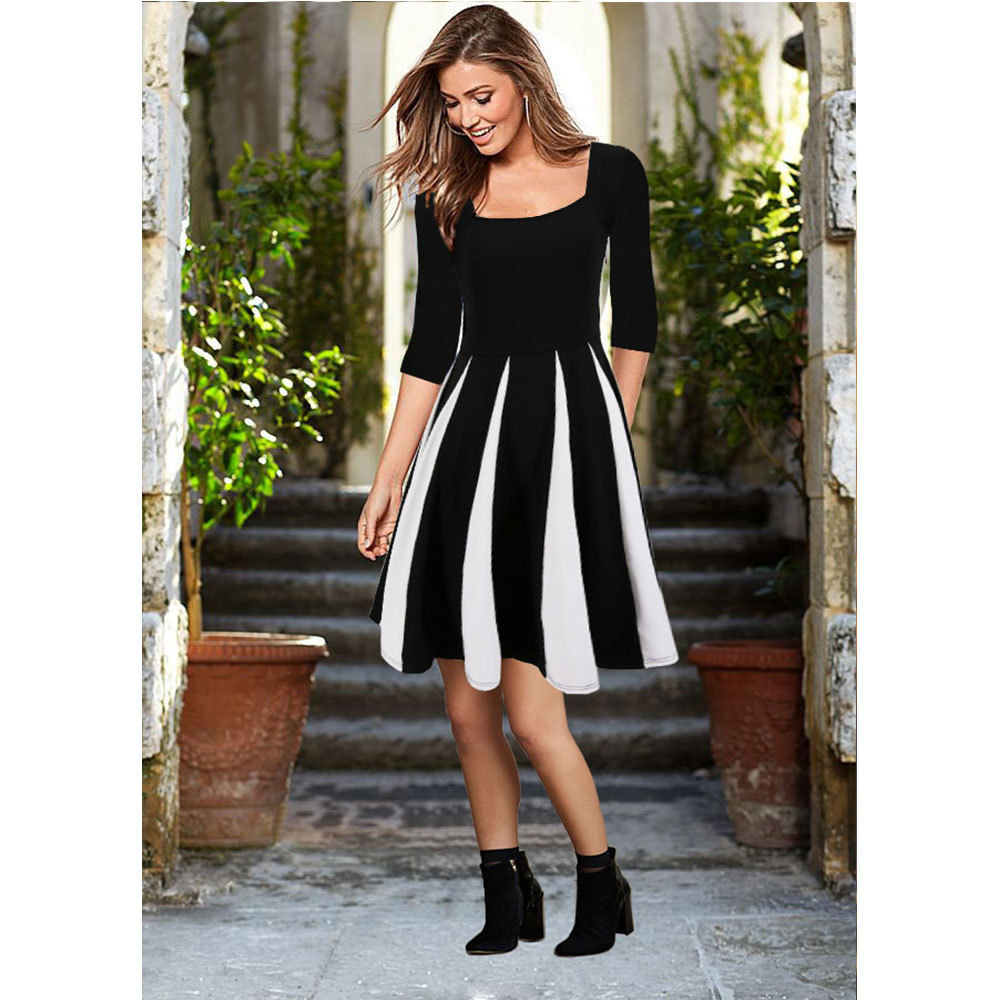 summer women dresses Vestidos de fiesta ruffles Elegant fashion black and white stitching Pleated Dress elegant