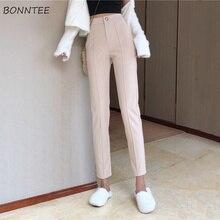 Pantalones de mujer Simple del todo-fósforo de cintura alta recta coreano  tobillo longitud pantalones 035689ec2f1