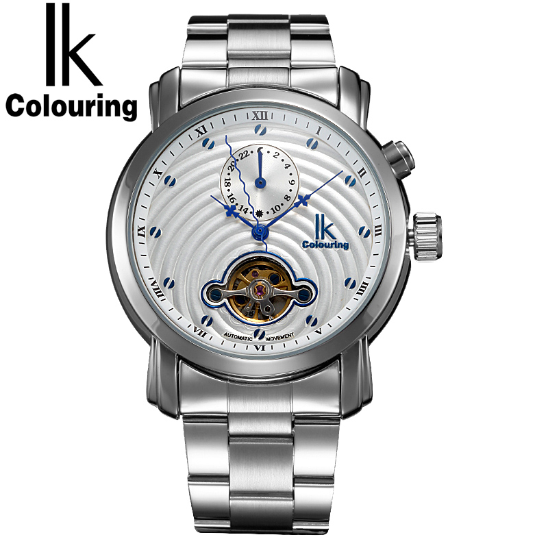 IK Colouring Gold Hollow 24 Hours Sub Dial Automatic Self-Wind Mechanical Watches Full Steel Luxury Men Watch relogios masculino ik brand luxury automatic mechanical watches men sub dial function date 24 hours display genuine leather skeleton watch relojes