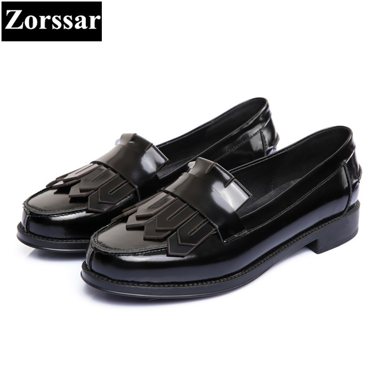 {Zorssar} 2018 Fashion tassel Genuine leather Women Oxford Shoes Woman Flats high quality Casual round toe Women Flat shoes