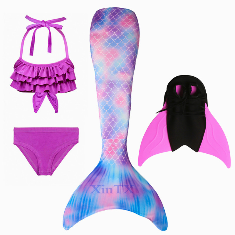New Little Mermaid Tails For Swimming Costume Mermaid Tail Monofin  Kids Swimmable Bikini Swimsuit Dress