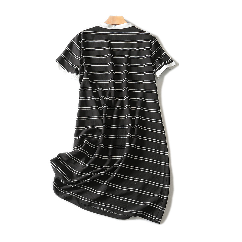 2019 Hot Sale New A line Striped Short Sleeve Appliques Knee length Fashion Natural V neck Summer Women Dress in Dresses from Women 39 s Clothing