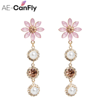 AE-CANFLY New Elegant Crystal Flower Long Full Rhinestone Pearl Drop Earrings Fashion Women Statement Jewelry