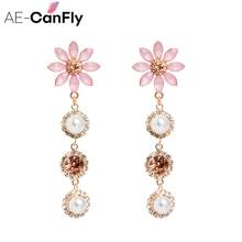 AE-CANFLY New Elegant Crystal Flower Long Full Rhinestone Pearl Drop Earrings Fashion Women Statement Jewelry цены