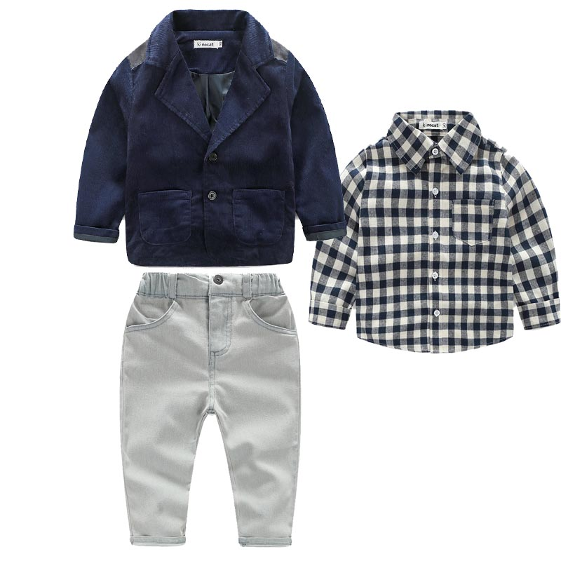 2016 Boys Handsome Denim Clothing Sets Children Casual Cotton hacket+t shirt +Denim Trousers 3-Pieces Clothing Set Hot Selling