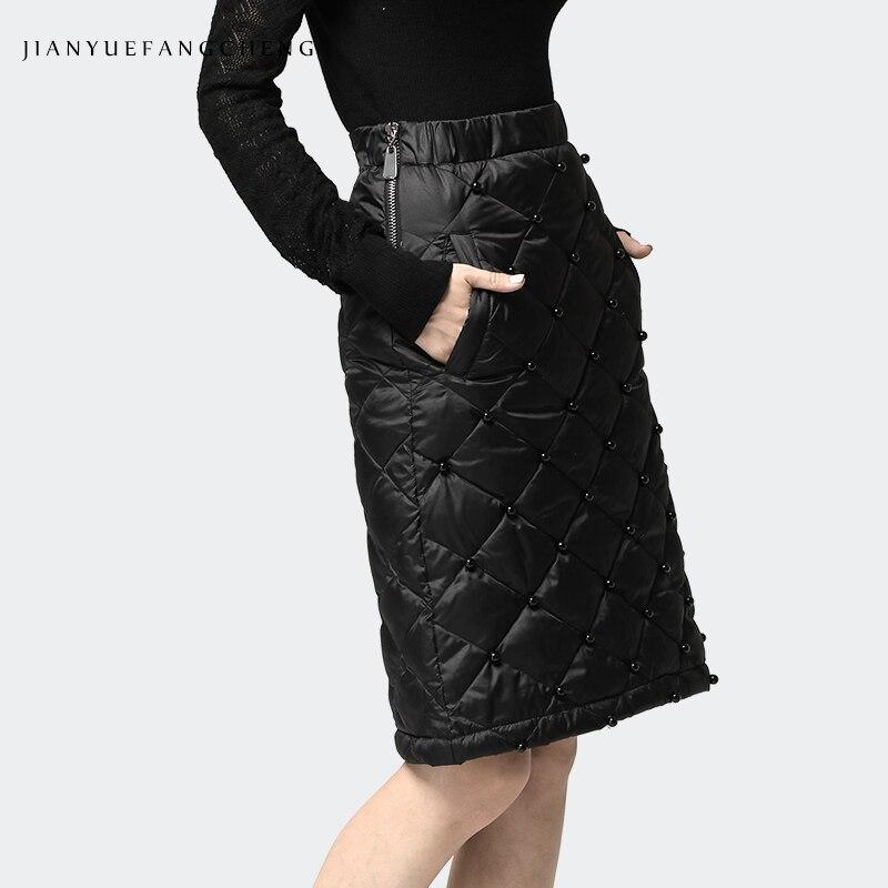 Dames 2018 Black Longueur Genou Ligne Hiver Bas Noir Chaud Vers Le Canard Mini Plus Taille Épaississent Femmes La Haute Une Jupes Casual Jupe Au BUfRnt