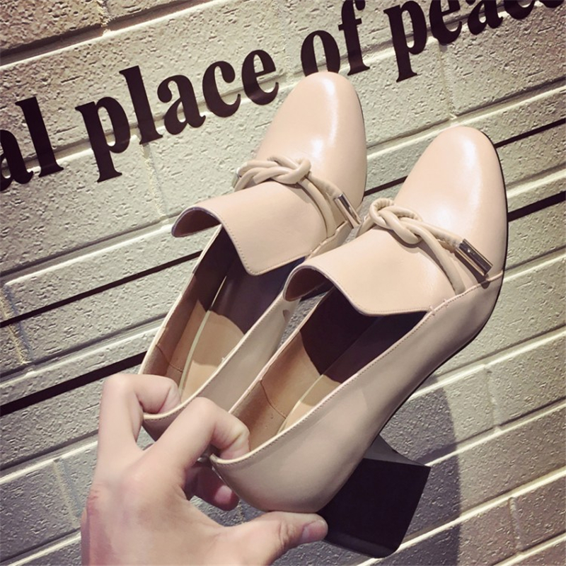 2016 autumn New Fashion Women Genuine Leather high heels sexy color block Square heel pumps Free