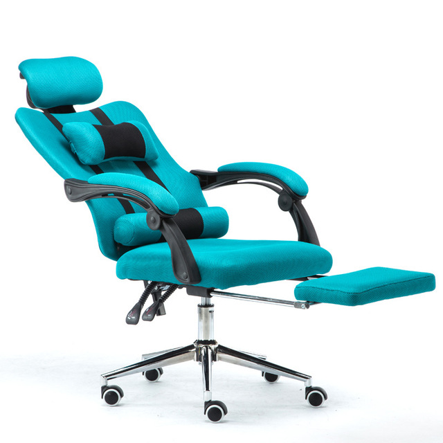 Teal Computer Chair Tyke Hike Household Lifted And Rotation Ergonomics Office Mesh Cloth Swivel With Footrest Reclining Comfortable