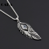 CARA Brand 2017 New Design Wholesale Trendy Cheap Jewelry Devil's Eye Feather Pendant Necklace For Women Free Shipping CAGF0145