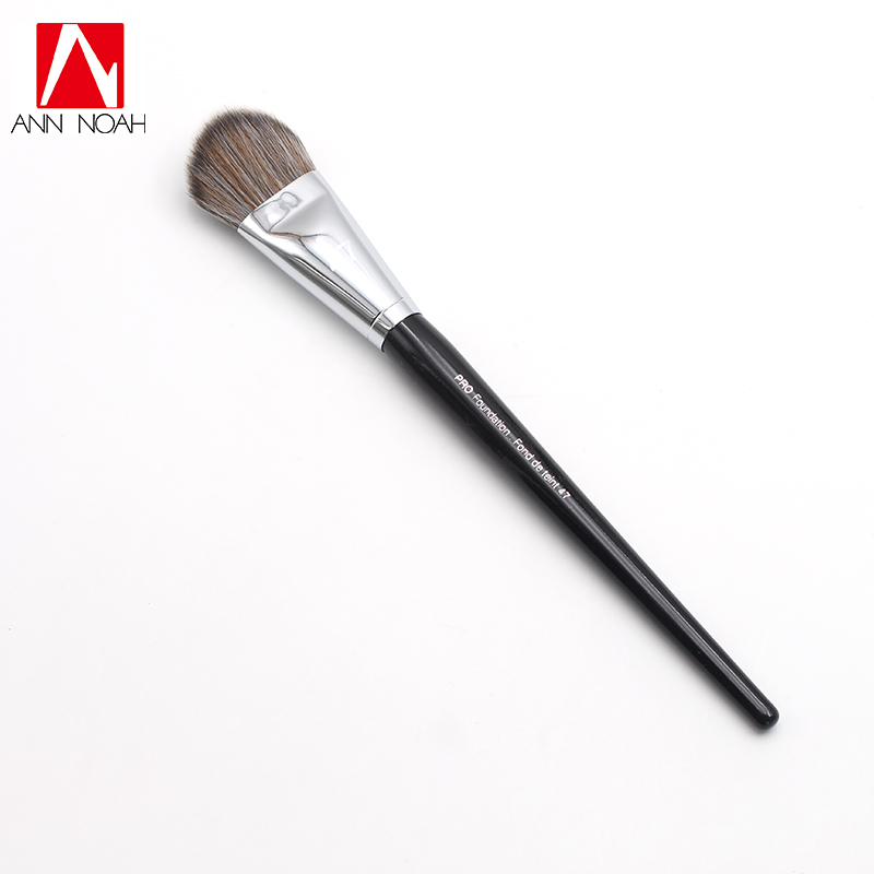 Professional Black Long Wood Handle Angled Flat Like Cat Tongue Shape Head 47 Pro Foundation Brush right oven handle or industrial steam rice cooker handle with sector shape lock tongue