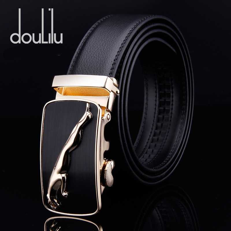 Mens Genuine Cow Leather Belt Gold Cheetah Automatic Buckle Adult Business Jeans Casual Waist Luxury Brand Black Long Belts