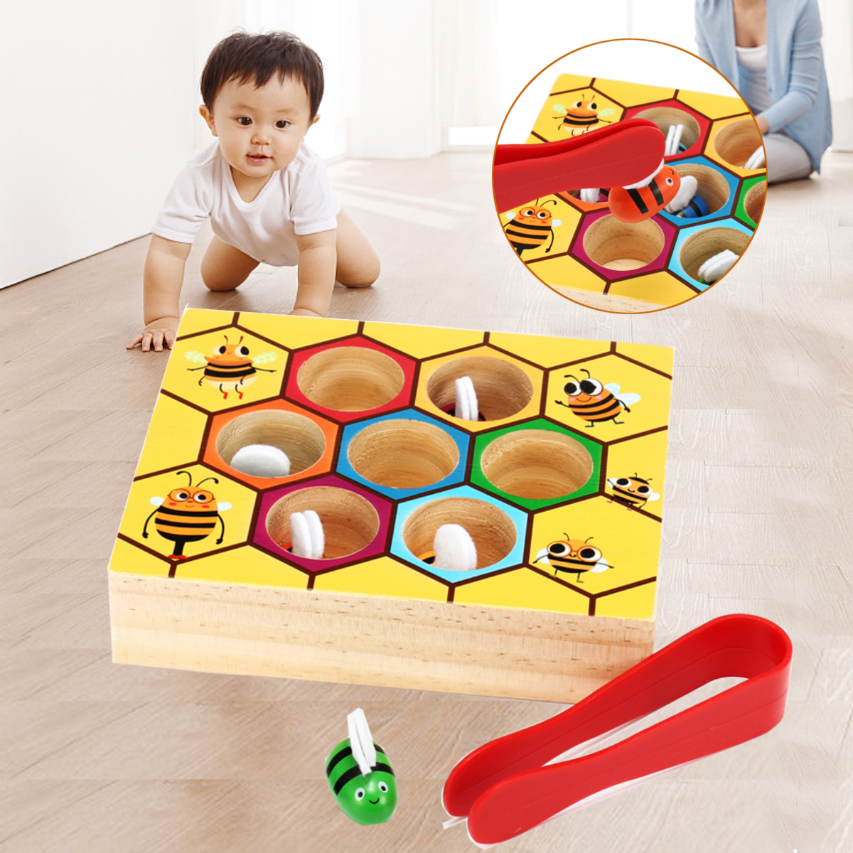 Hive Games Montessori Wooden Toys Baby Bees Clamp Picking Memory Training Matching Pair Math Early Education Interactive Toy