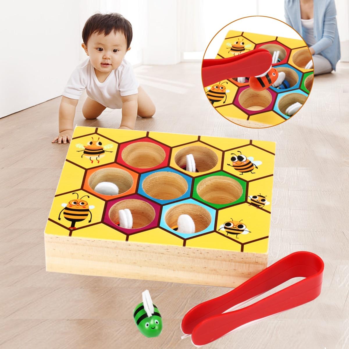 Juegos de colmena juguetes de madera Montessori bebé abejas pinza de recogida de memoria de entrenamiento par de matemáticas de educación temprana juguete interactivo Juguete de maquillaje para chico, juego de maquillaje para chico, juego de maquillaje seguro y no tóxico, juguete para niñas, bolsa de viaje, bolsa de belleza