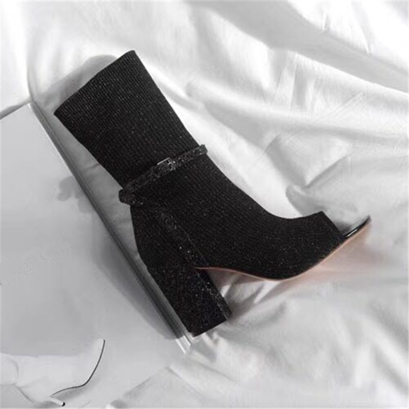 plata Zapatos Verano Sandalias Elástico Negro Sexy Alto Chunky Rosa Mujer Botas De Toe Mujeres Jady Gladiator Calcetín Bombas Tacón Estilete Peep RqAw6z