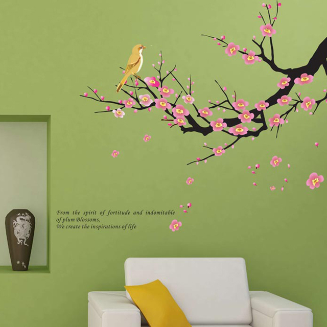45*60cm diy plum flower blossom wall stickers hall wallpaper floral