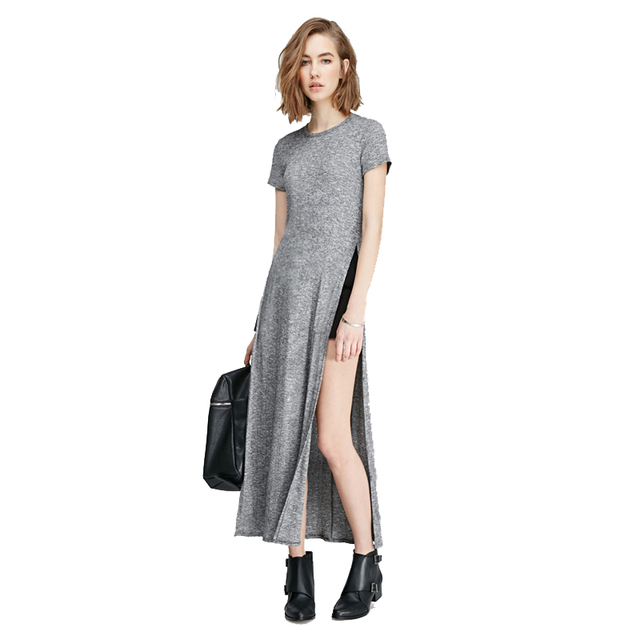 0268a5b0f59214 Grijs Jurk Vrouwen Herfst Basic Side Hoge Split Lange t-shirt Vrouwen Sexy  Jurk Korte