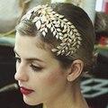 Vintage accesorios de boda nupcial oro hoja corona de aleación peinetas Tiara para novia pelo pedazo principal de la joyería