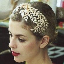 Vintage Accesorios nupciales para el cabello boda oro corona de hojas de aleación peines de pelo Tiara para joyería para el pelo de novia pieza de cabeza