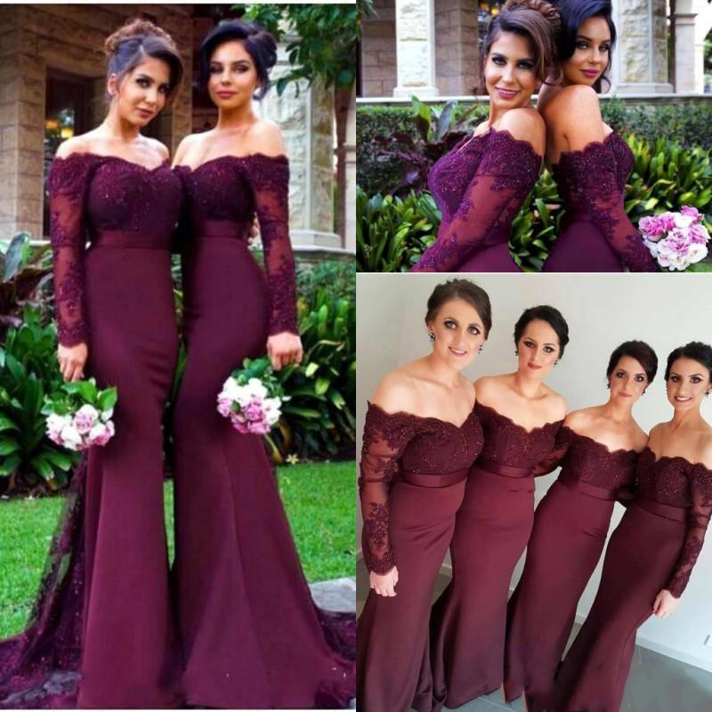 2019 Summer Burgundy Long Sleeves   Bridesmaid     Dresses   Sexy Backless Off Shoulders Appliques Sequins Long Prom   Dress