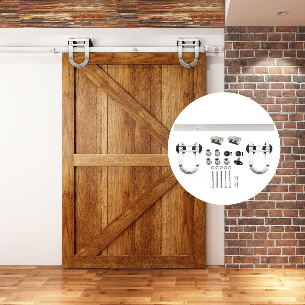 4.9FT/6FT/6.6FT Stainless steel brushed horseshoe double wheels interior sliding barn door hardware for wood door